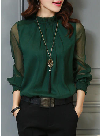 Chiffon Stand-up Collar Plain Long Sleeves Sheer Blouses