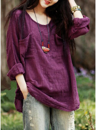 Linen Round Neck Plain Long Sleeves Casual Blouses