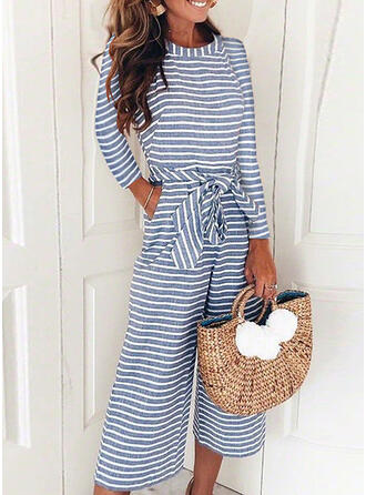 Striped Round Neck Long Sleeves Casual Vacation Jumpsuit
