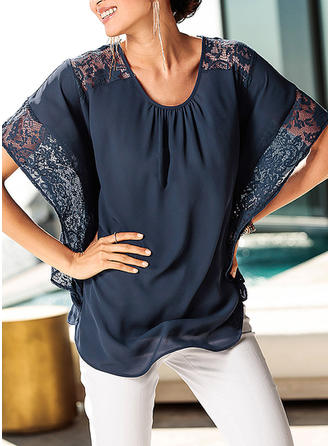 Solid Round Neck Batwing Sleeve Short Sleeves Casual Elegant Blouses