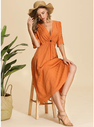 Solid 1/2 Sleeves A-line Midi Casual/Vacation Dresses