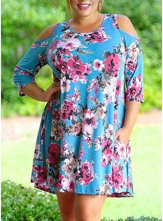 Print/Floral 3/4 Sleeves/Cold Shoulder Sleeve Shift Above Knee Casual/Elegant/Plus Size Dresses