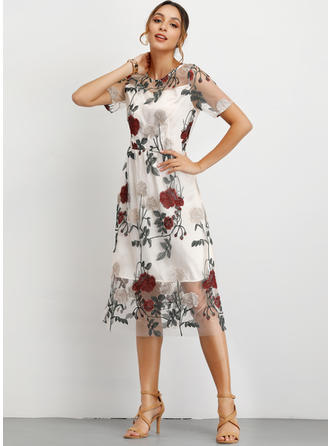 Embroidery/Floral Short Sleeves A-line Midi Casual/Elegant Dresses