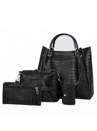 Elegant/Delicate/Commuting/Solid Color/Simple/Crocodile Embossed Satchel/Tote Bags/Crossbody Bags/Shoulder Bags/Bag Sets