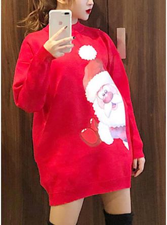 Poliester Wycięcie pod szyją Wydrukować Brzydki świąteczny sweter