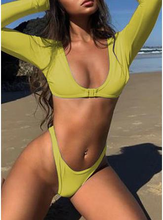 Couleur Unie Col U Sexy Bikinis Maillots De Bain