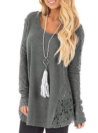 Mieszanki bawełniane Okrągły Dekolt Jednolity kolor Swetry