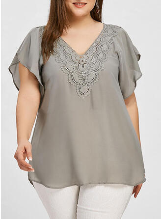 Solid Lace V-Neck Flare Sleeve Short Sleeves Plus Size Blouses