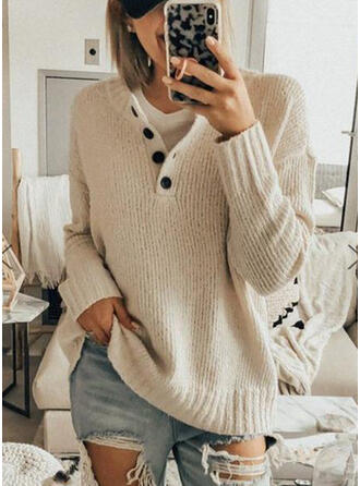 Solid Cable-knit Chunky knit V neck Sweaters