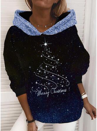 Print Sequins Figure Long Sleeves Christmas Sweatshirt