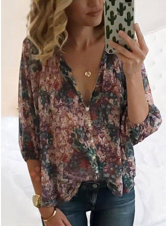 Floral V-neck 3/4 Sleeves Button Up Casual Elegant Shirt Blouses