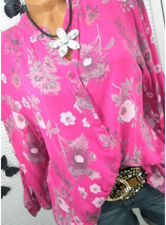 Polyester V Neck Print Long Sleeves Casual Blouses