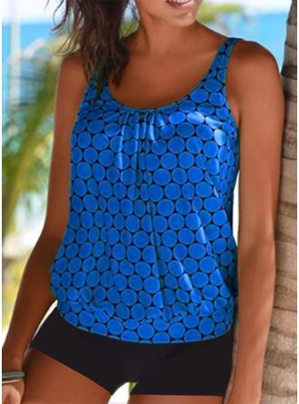 Dot Strap U-Neck Plus Size Tankinis Swimsuits