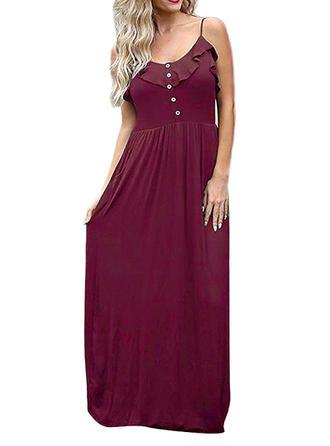 Solid Strap Maxi A-line Dress