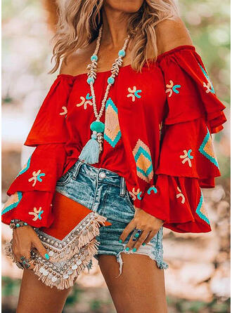 Print Off the Shoulder Flare Sleeve Casual Elegant Blouses