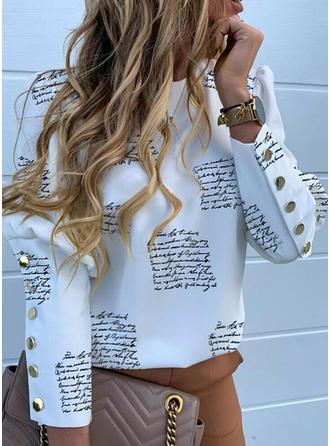 Stampa Alzarsi il colletto Maniche lunghe Bottone Casuale Elegante Camicie