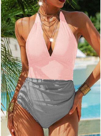 Stripe Print Halter Sexy Vintage One-piece Swimsuits