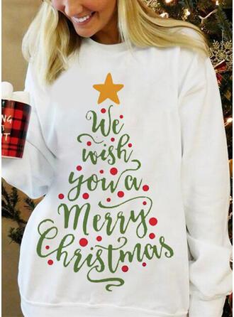 Print Figur rund hals Lange ærmer Jule sweatshirt
