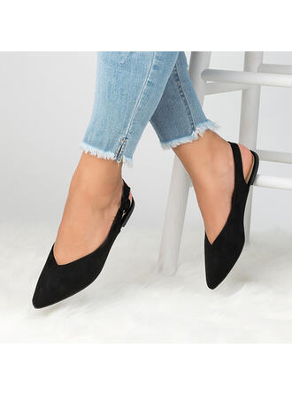 Women's Suede Chunky Heel Flats Pointed Toe With Hollow-out shoes
