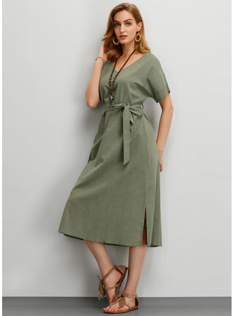 Solid Short Sleeves A-line Midi Casual Dresses