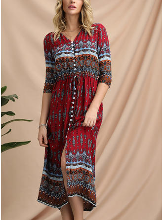 Print/Geometric Print 1/2 Sleeves A-line Casual/Boho/Vacation Midi Dresses