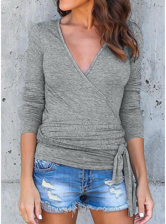 Plain V Neck Long Sleeves Casual Sexy Blouses