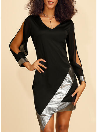 Sequins Long Sleeves/Split Sleeve Bodycon Above Knee Little Black/Party Dresses