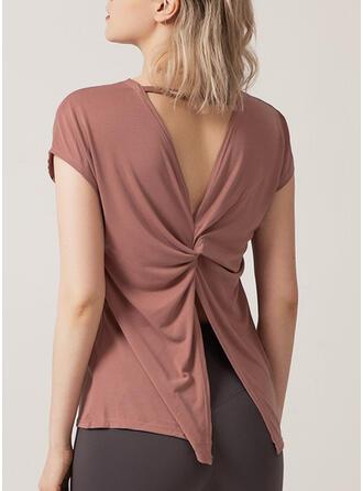 Cuello Redondo Manga Corta Color sólido Camisetas deportivas