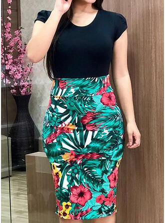 Print/Floral Short Sleeves Bodycon Knee Length Casual/Elegant/Plus Size Dresses