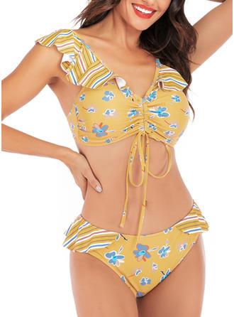 Bloemen V-nek Sexy Bikini's Badpakken