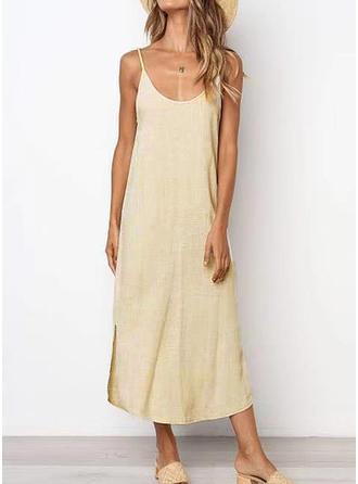 Solid Sleeveless Shift Midi/Maxi Casual/Vacation Dresses