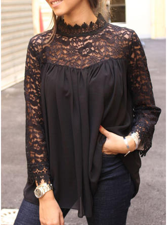 Solid Lace Round Neck Long Sleeves Casual Elegant Sexy Blouses