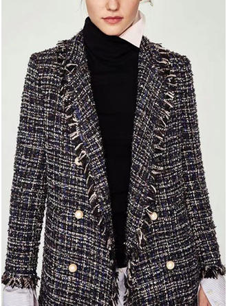 Polyester Long Sleeves Houndstooth Blazers