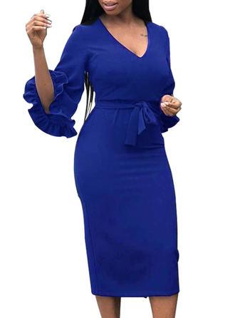 Solid V-neck Midi Sheath Dress