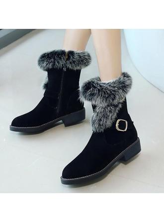 Női Szarvasbőr Chunky sarok Hótaposó -Val Csat Cipzár cipő