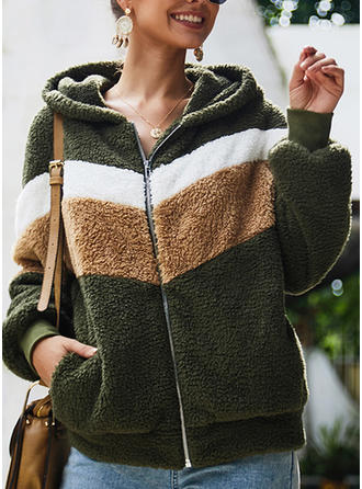 Polyester Long Sleeves Color Block Wide-Waisted Coats Faux Fur Coats Blazers