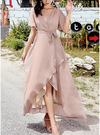 Chiffon With Stitching Asymmetrical Dress