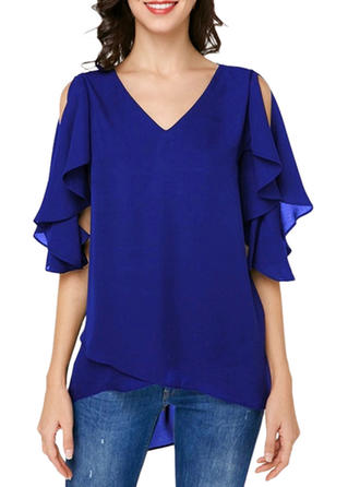 Solid V neck Cold Shoulder 1/2 Sleeves Casual Elegant Blouses