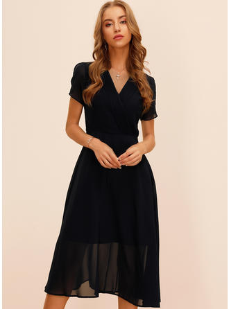 Solid Short Sleeves/Split Sleeve A-line Midi Casual/Elegant Dresses