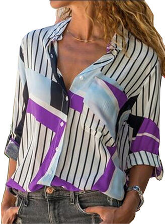 Print Striped Lapel Long Sleeves Button Up Casual Shirt Blouses