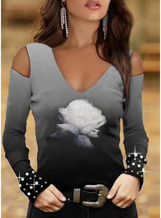 Floral Gradiente Estampado Ombro Frio Manga Comprida Camisetas