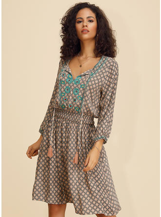 Print Long Sleeves A-line Knee Length Casual Dresses