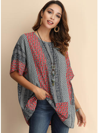 Patchwork Round Neck 1/2 Sleeves Casual Blouses