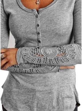 Koronka Bawełna Okrągły Dekolt Jednolity kolor Długie rękawy Nieformalny Bluzki