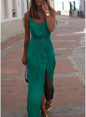 Jednolita Bez rękawów W kształcie litery A Maxi Casual/Wakacyjna Sukienki