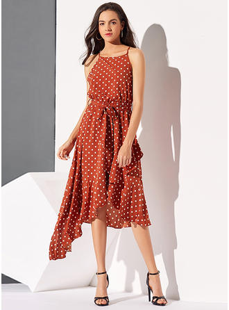 PolkaDot Sleeveless A-line Asymmetrical Casual Dresses