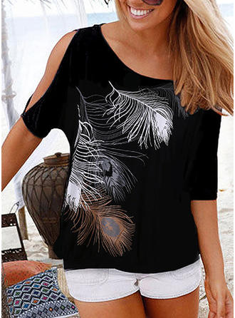 Print Round Neck Cold Shoulder 1/2 Sleeves Casual Blouses