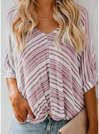 Striped V Neck 3/4 Sleeves Casual Elegant Blouses