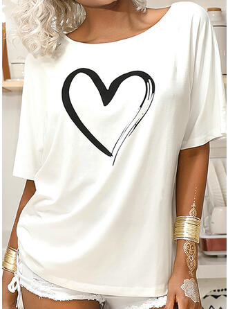 Print Heart One-Shoulder 1/2 Sleeves Casual T-shirts