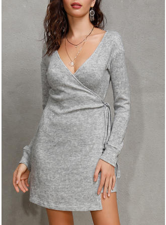 Solid Long Sleeves Sheath Above Knee Casual/Party Dresses